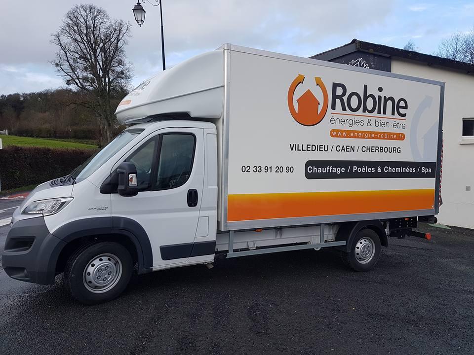 Publicité adhésive sur camion 20m3 Robine énergies