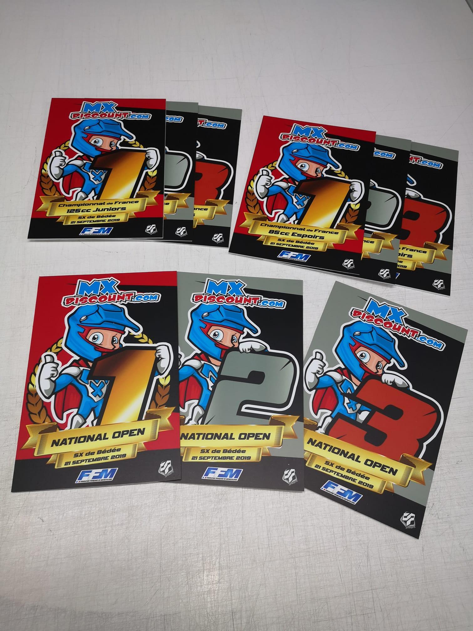Plaques trophées motocross